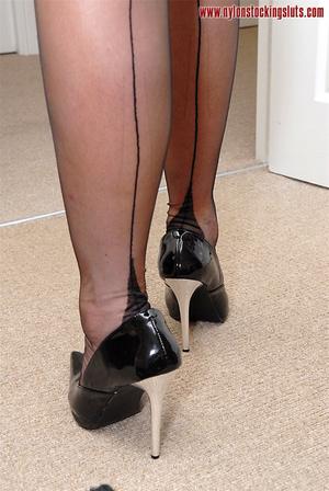 Blonde mature milf in sexy black nylons  - XXX Dessert - Picture 7