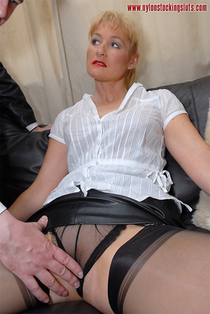 Blonde mature milf in sexy black nylons  - XXX Dessert - Picture 10
