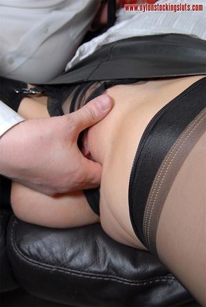 Blonde mature milf in sexy black nylons  - XXX Dessert - Picture 13