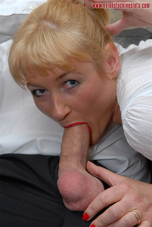 Blonde mature milf in sexy black nylons  - XXX Dessert - Picture 14