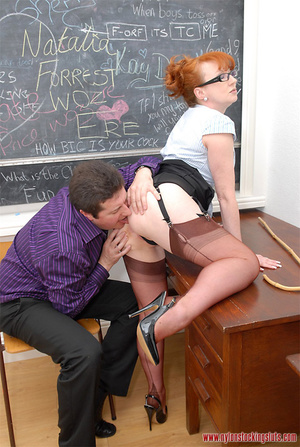Mature redhead teacher in tight pantyhos - XXX Dessert - Picture 10