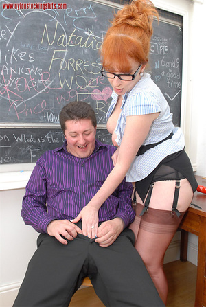 Mature redhead teacher in tight pantyhos - XXX Dessert - Picture 15