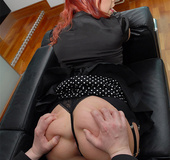 Redhead mature milf in black dress nad nylons gets her ass hole fingered