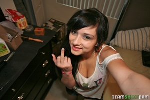 Amateur dark haired teen in pinky undies - XXX Dessert - Picture 1