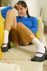 Brunette Cindy in short college uniform with ankle socks
