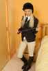 Gorgeous blonde Sam in tight jodphurs and riding boots