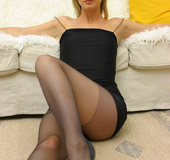 Non nude Leah in tight minidress and pantyhose