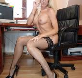 Blonde secretary Natalli fucking her boss at work
