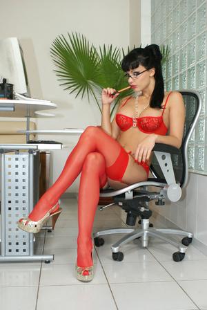 Hot office babe Aletta Ocean in red stoc - XXX Dessert - Picture 11