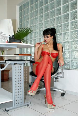 Hot office babe Aletta Ocean in red stoc - XXX Dessert - Picture 13