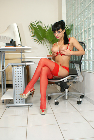 Hot office babe Aletta Ocean in red stoc - XXX Dessert - Picture 15