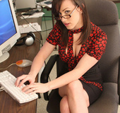 Brunette office babe Jennifer strips at work