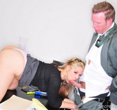 Busty blonde secretary Sarah fucking in the office