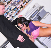Brunette Pornstar Mackenzie sucking dick in the office