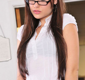 Brunette pornstar Sasha Grey in hot office sex