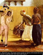 Bondage art. The Caliph's wishes to see his useless white slaves dance!