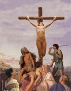 Submission. Crucified Roman slaves tortured by hot iron!