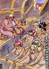 Fetish cartoons. Sultan posing with his white slaves, coming from the