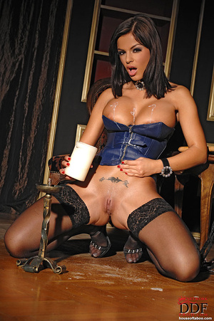 Black Angelica playing with hot wax on t - XXX Dessert - Picture 6