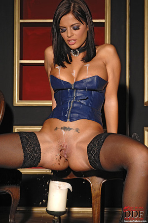 Black Angelica playing with hot wax on t - XXX Dessert - Picture 10