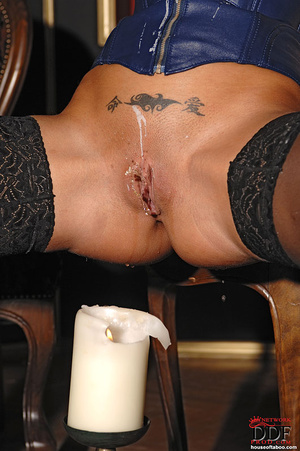 Black Angelica playing with hot wax on t - XXX Dessert - Picture 11