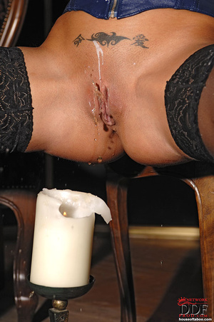 Black Angelica playing with hot wax on t - XXX Dessert - Picture 12