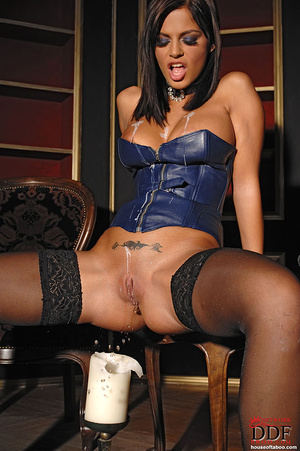 Black Angelica playing with hot wax on t - XXX Dessert - Picture 13
