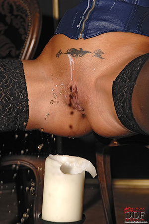 Black Angelica playing with hot wax on t - XXX Dessert - Picture 14