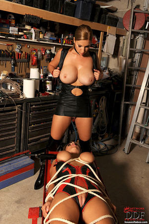 Sexy young babes Carol Jannete in bondage set