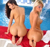 Two amazing hot babes sharing pleasure by the pool. Tags: lesbian, pussy,