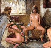 Bondage toons. Chained slaves suck cock in front of their naked Mistress!
