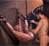 Bondage cartoons. Torturer puts mouse in her tight slave pussy!