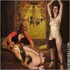 Slave girl comics. Slaves are forced to strecth their pussie for master's