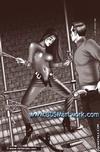 Slave art. Masked men tortures slave's tender flesh!