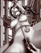 Slave comics. Slave girls get a ring in their pussy lips!