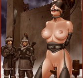 Bdsm comics. Two mongolian warriors, assigned to the service of the Mistress,