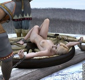 Slave comics. Blonde with big tits gets execution on snow from couple