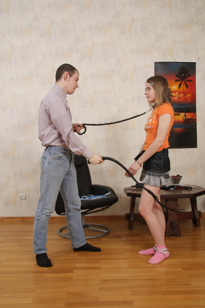 Leaning down to suck her boyfriend`s fat throbbing cock this cute teen felt the sting of a whip on her plump round ass. - XXXonXXX - Pic 2