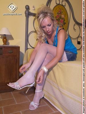Delicious blonde bimbo in white stocking - XXX Dessert - Picture 3