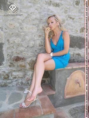 Delicious petite blonde babe in blue dre - XXX Dessert - Picture 3