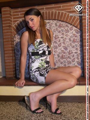 Super hot brunette bimbo in short dress  - XXX Dessert - Picture 2