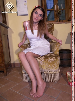 Lovely brunette beauty in pantyhose will - XXX Dessert - Picture 6