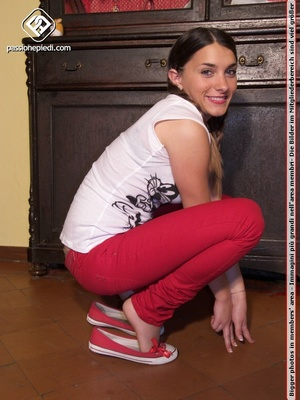 Perfect butt girl in red pants and grey  - XXX Dessert - Picture 2