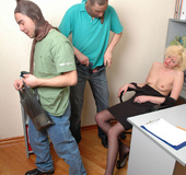 Horny thieves in pantyhose masks fucking the brains out of blondie in
