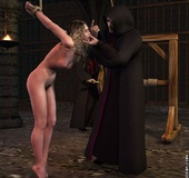 Bdsm art. Depraved ministers of the house tied up and suspended from a