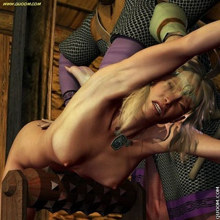 Submission art. The Vikings captured the woman and subdued.