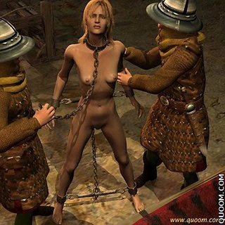 Slave cartoons. Jeanne naked girl with big tits chained and put on the table.