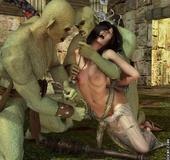 Bdsm comics. Green orcs want to torment a hot busty brunette.