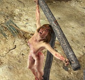 Slave art. The last queen of troy hung on the cross.