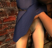 Bondage art. Bald guy pulled up dress of his slave girl!